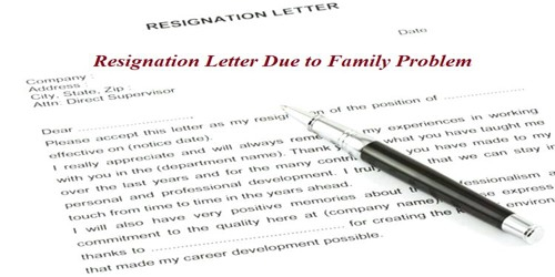 Sample Resignation Letter Format Due To Family Problem