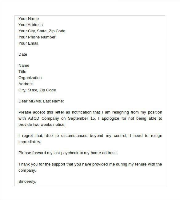 Sample Resignation Letter No Notice Lovely Sample Resignation