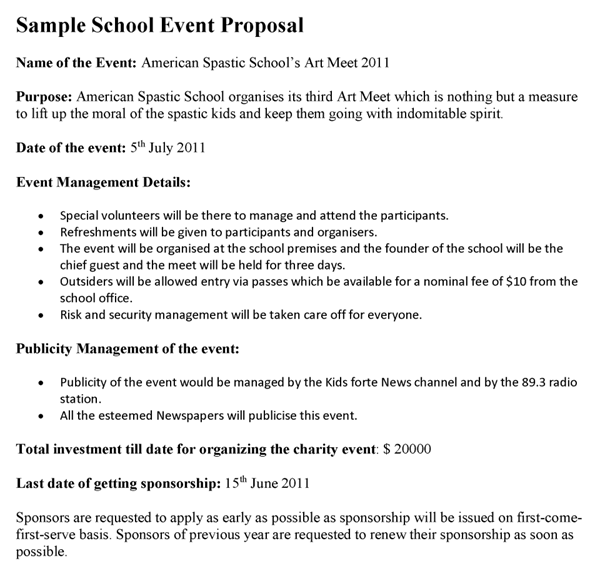 School Event Proposal Template Sample Proposals Sampleresume