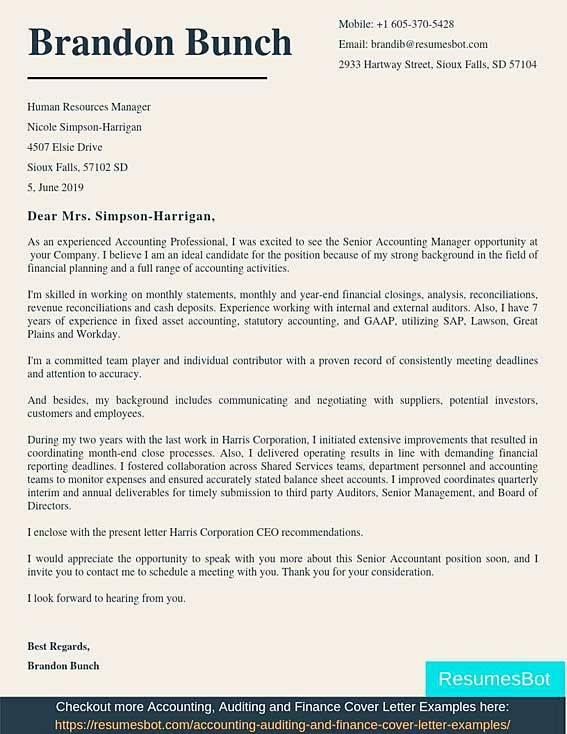 Senior Accountant Cover Letter Samples   Templates Pdfword