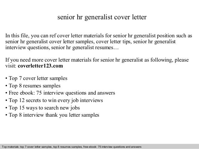 Senior Hr Generalist Cover Letter