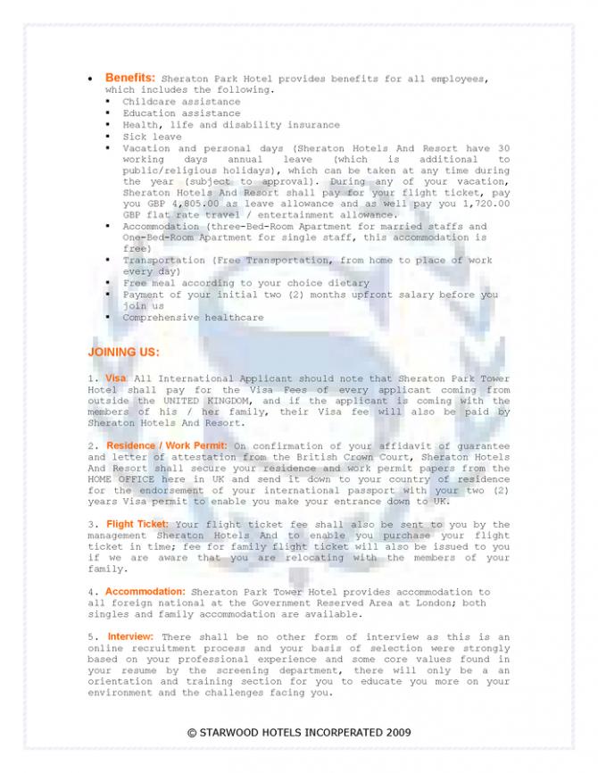 Sheraton Park Tower Hotel London  Job Offer Letter