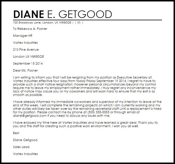 Short Notice Resignation Letter Example