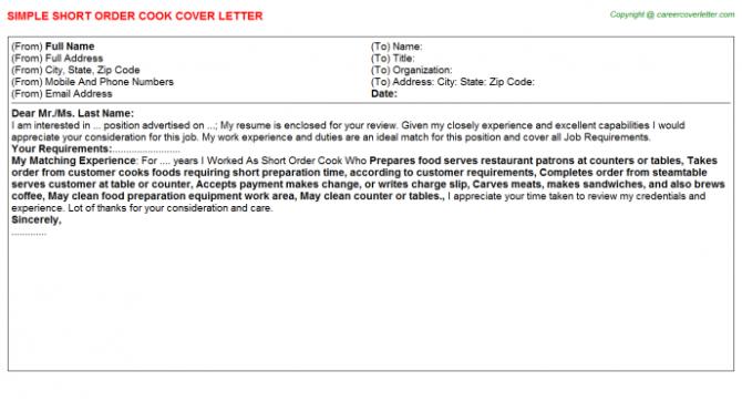 Short Order Cook Cover Letter