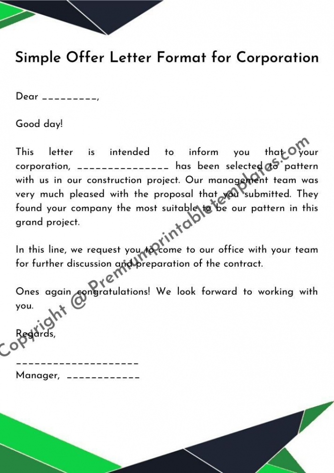 Simple Offer Letter Format For Corporation In