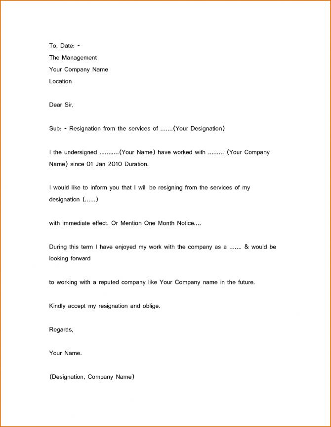 Simple Resignation Letter Sample  Month Notice