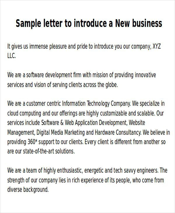 Sle New Business Letters  Exles In Word Pdf