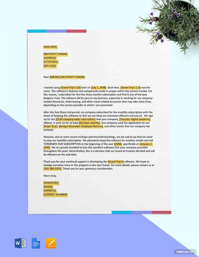 Software Subscription Termination Letter Template Ad