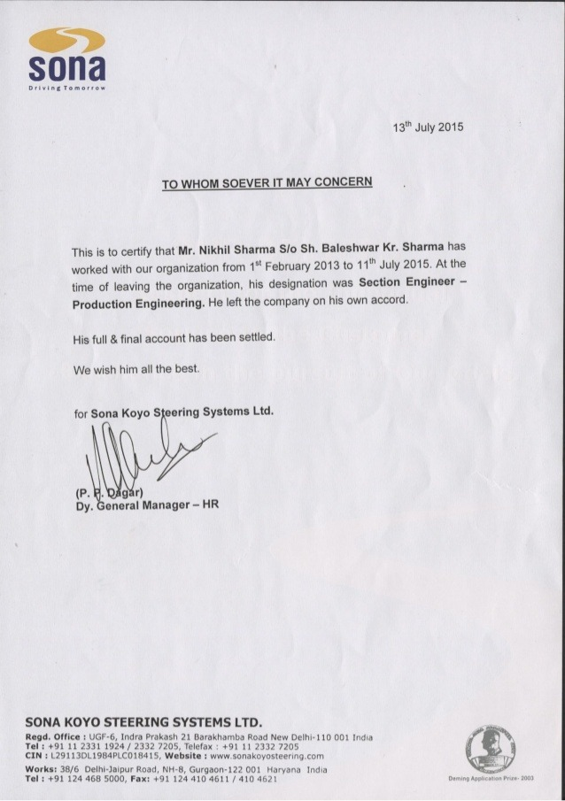 Sona Koyo Work Experience Certificate