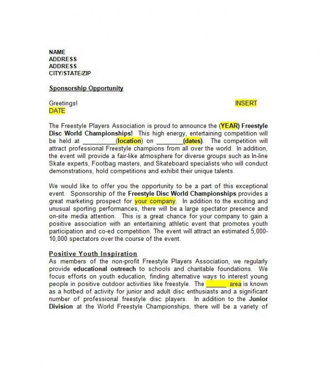 Sponsorship Letter   Sponsorship Proposal Templates