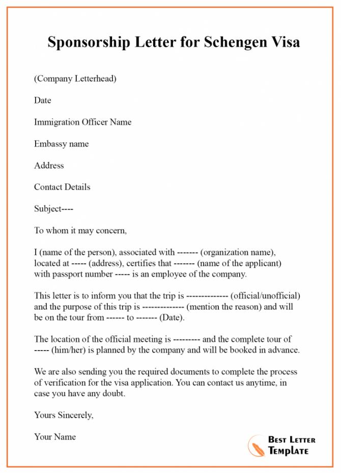 Sponsorship Letter For Visa Template  Format  Sample   Example