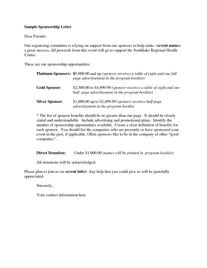 Sponsorship Letter Proposal  Sponsorship Letter Sponsorship