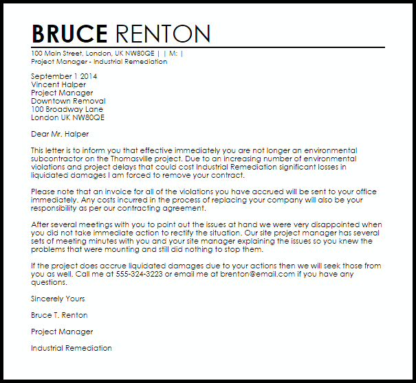 Subcontractor Termination Letter Example