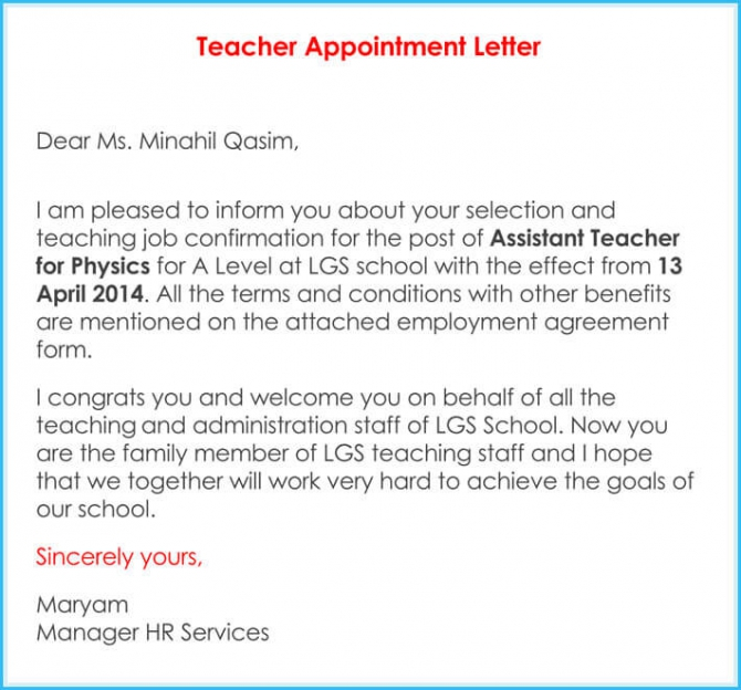 Teacher Appointment Letter  Samples Letters And Templates