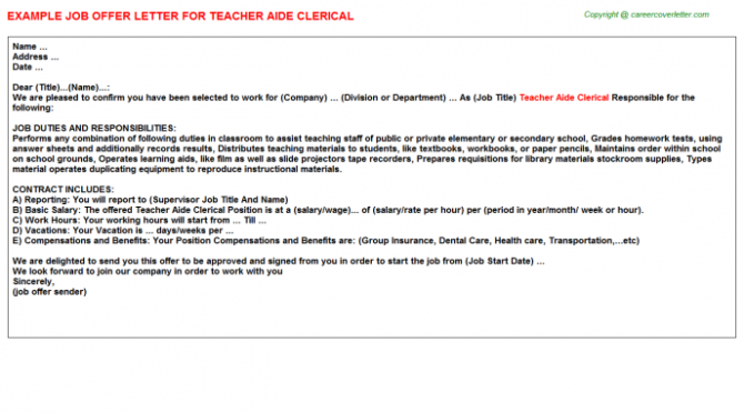 Teacher Post Secondary Education Military Job Offer Letters Examples