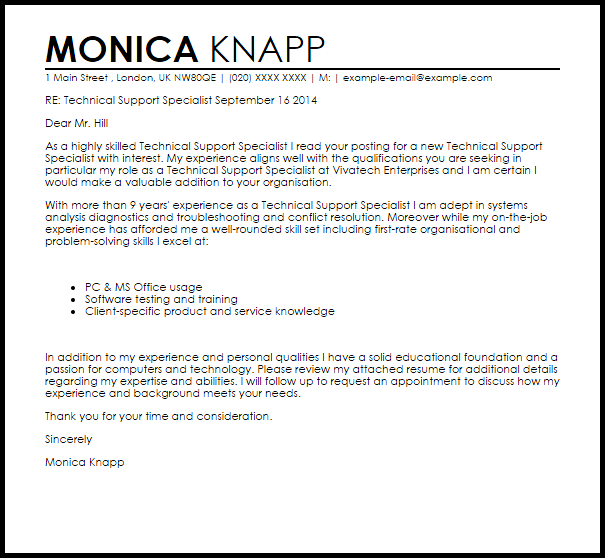 Technical Support Specialist Cover Letter Sample
