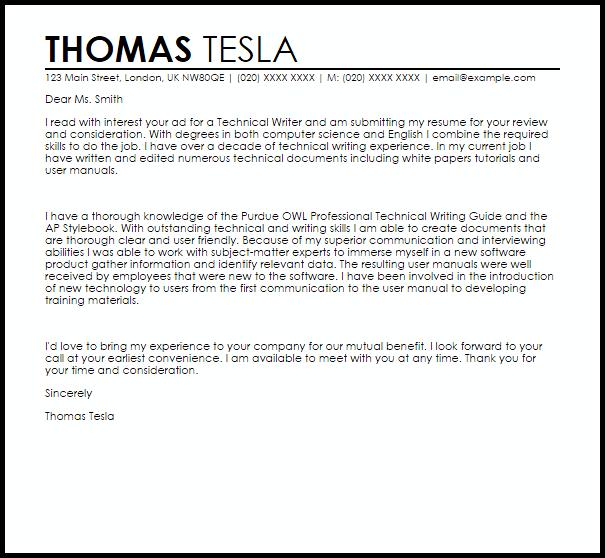 Technical Writer Cover Letter Sample