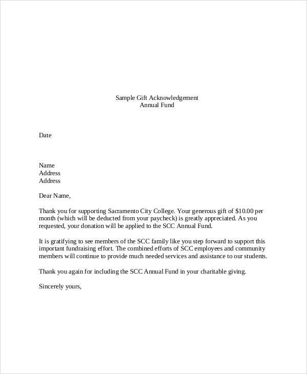 Template Acknowledgement Letter Donation Gift Templates Sample