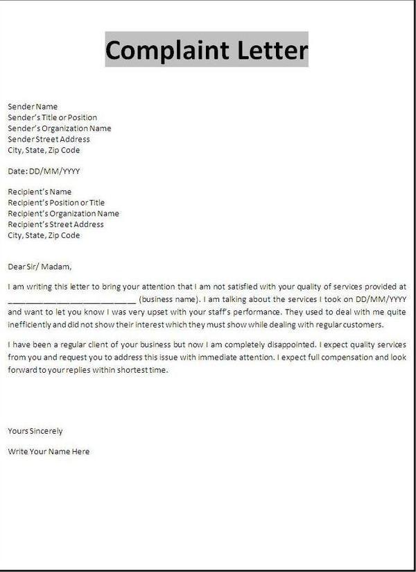 Tenant Complaint Letter
