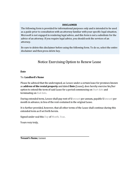 Tenants Notice Exercising Option To Renew Lease