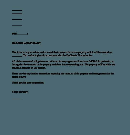 Tenants Notice To Terminate The Tenancy