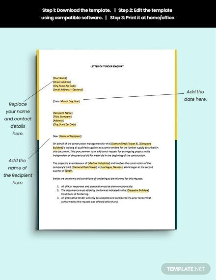Tender Enquiry Letter Template