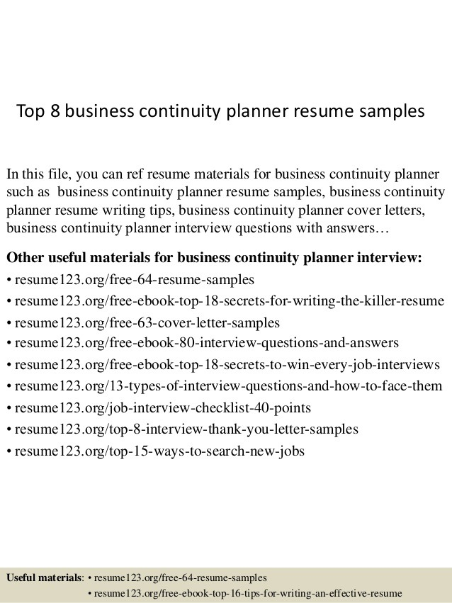 Top  Business Continuity Planner Resume Samples