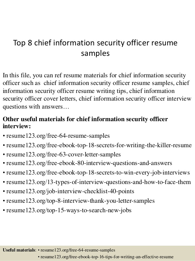 Top  Chief Information Security Officer Resume Samples