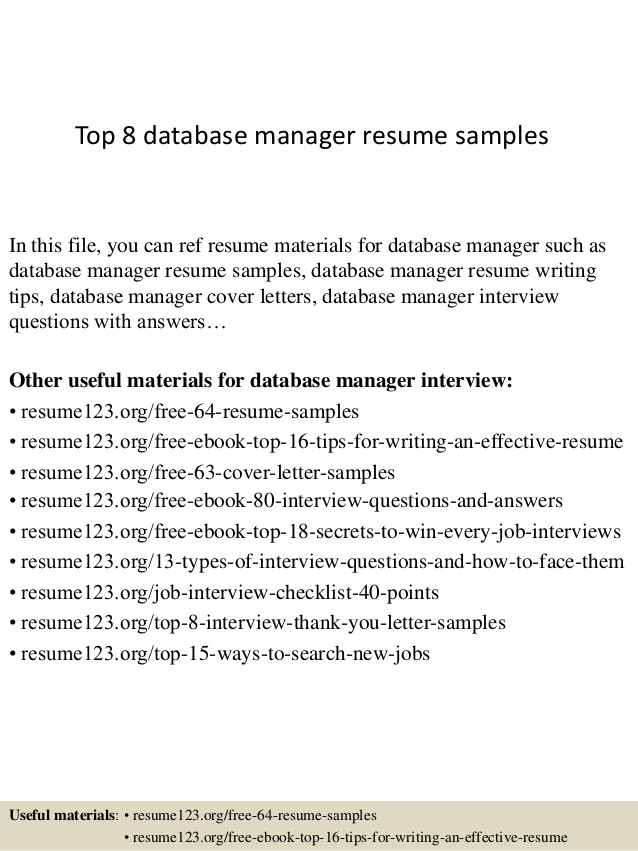 Top  Database Manager Resume Samples