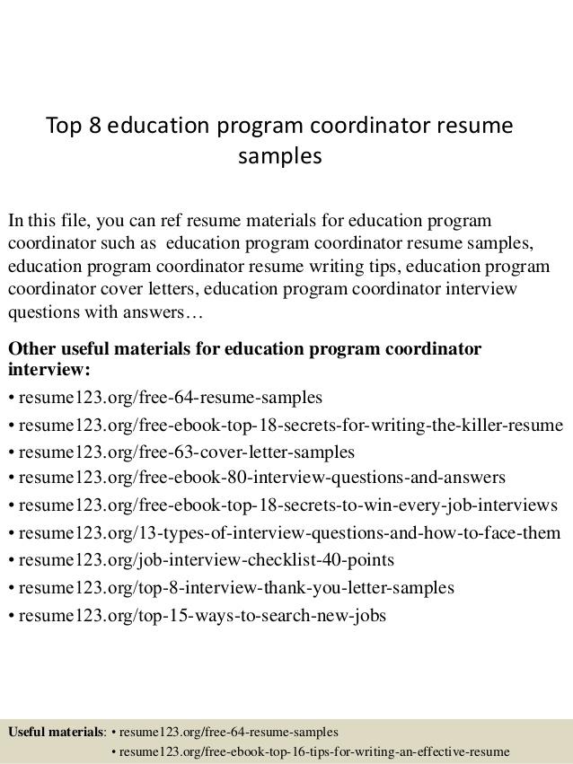 Top  Education Program Coordinator Resume Samples