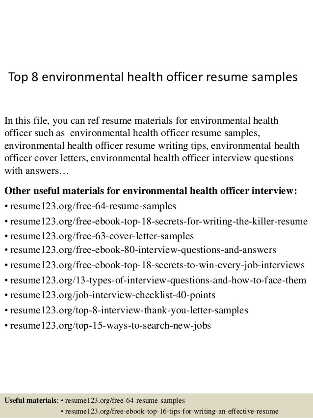 Top  Environmental Health Officer Resume Samples