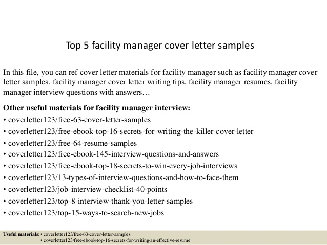 Top  Facility Manager Cover Letter Samples
