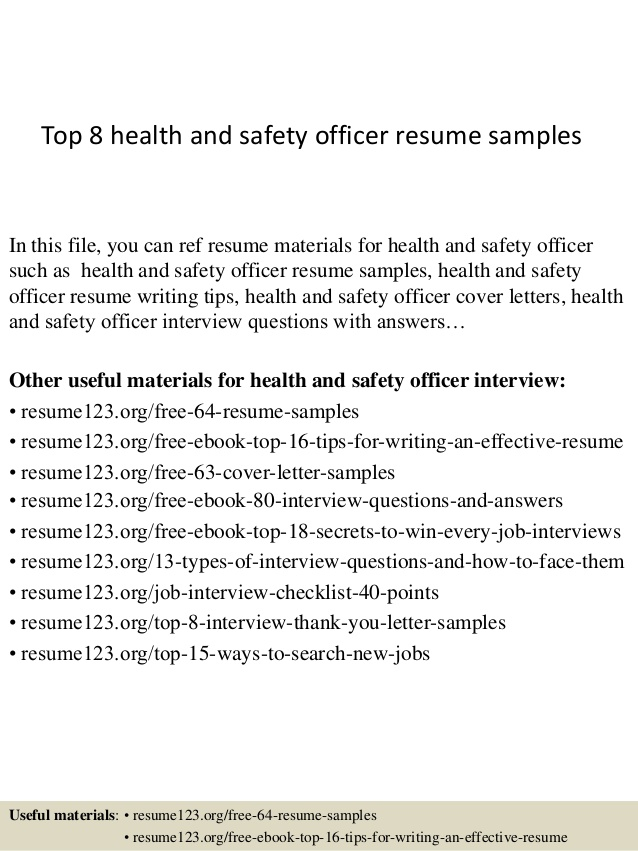 Top  Health And Safety Officer Resume Samples