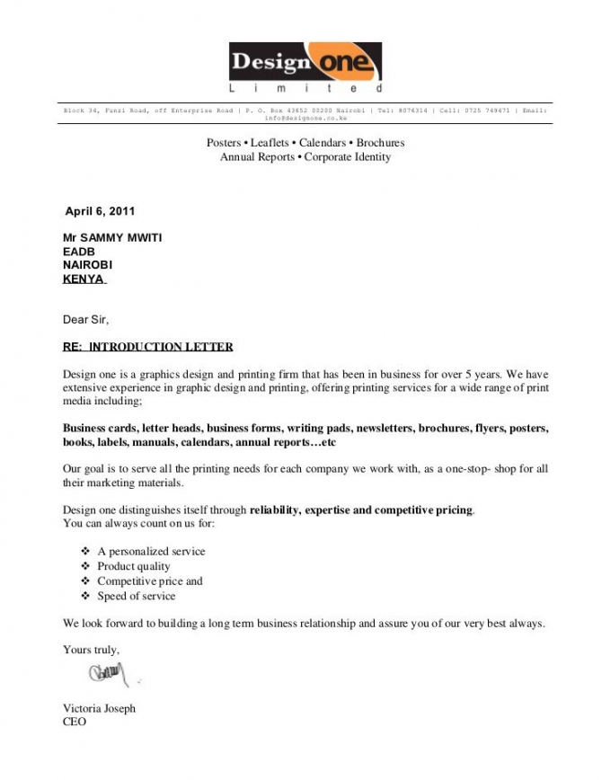 Trading Company Introduction Letter Sample Cover Templates For