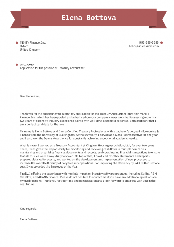 Treasury Accountant Cover Letter Example