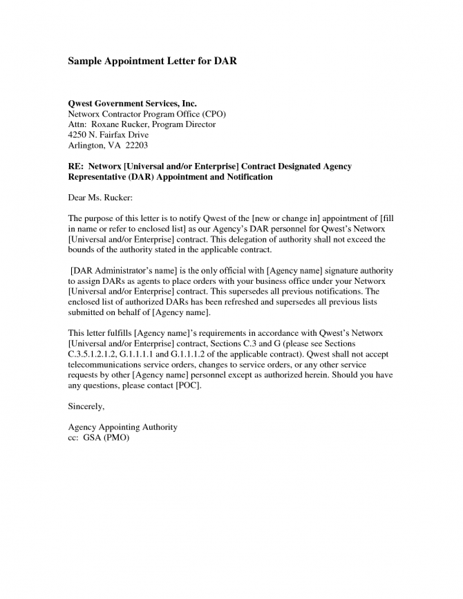 Trustee Appointment Letter