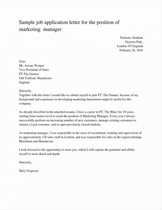 Valid Cover Letter For Marketing Executive Job