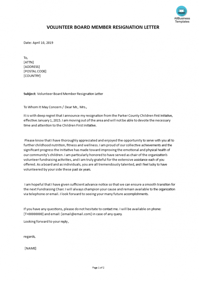 Volunteer Board Member Resignation Letter