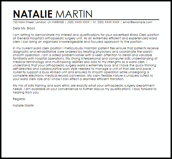 Ward Clerk Cover Letter Sample