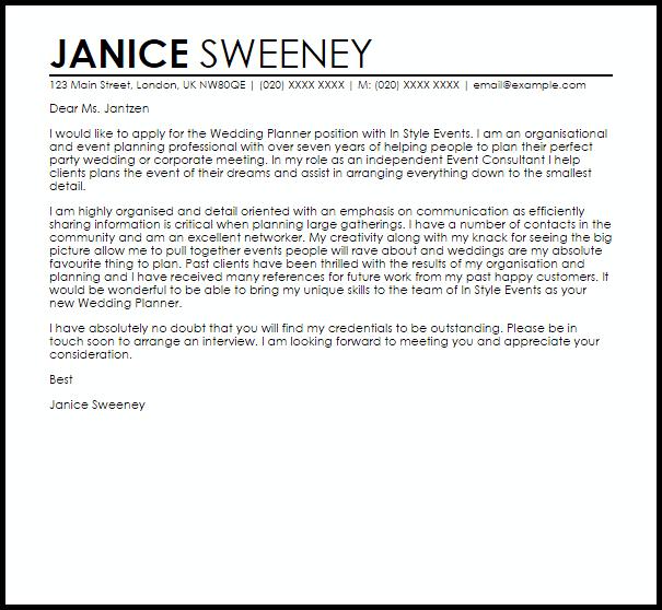 Wedding Planner Cover Letter Sample