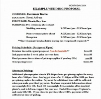 Wedding Event Proposal Letter