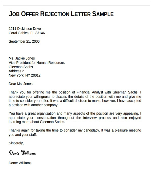 Whats A Nice Rejection Letter To Send A Runner Up Candidate