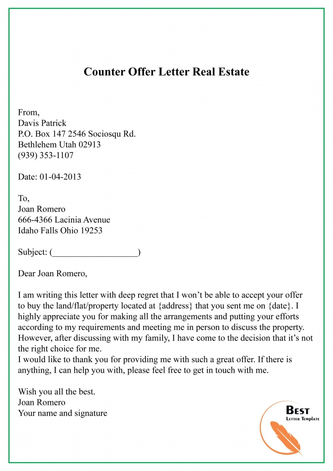 Wonderful Real Estate Offer Letter Template High Definition
