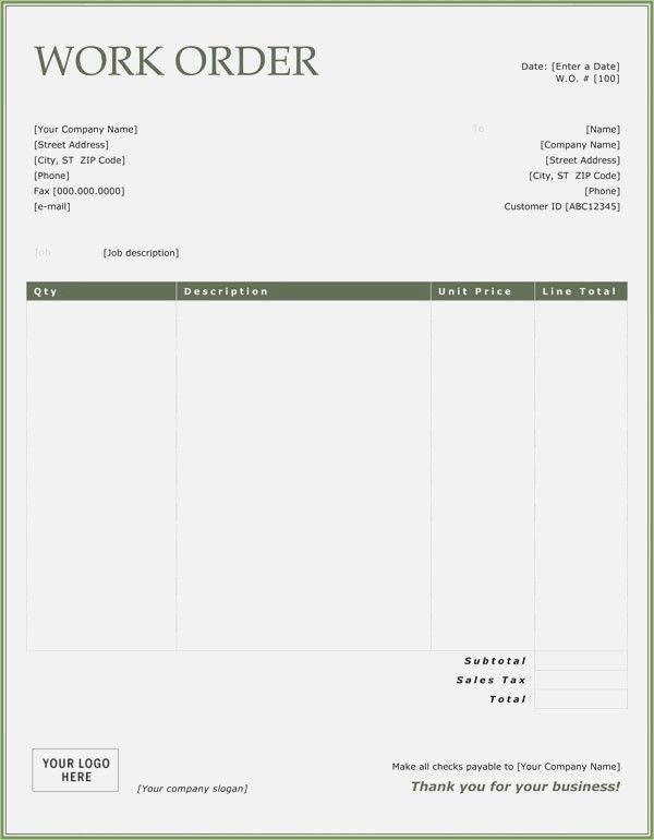 Work Order Sample