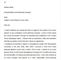 Conference Planner Cover Letter