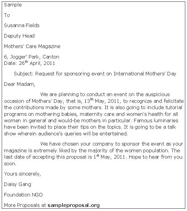 Write Event Proposal Letter