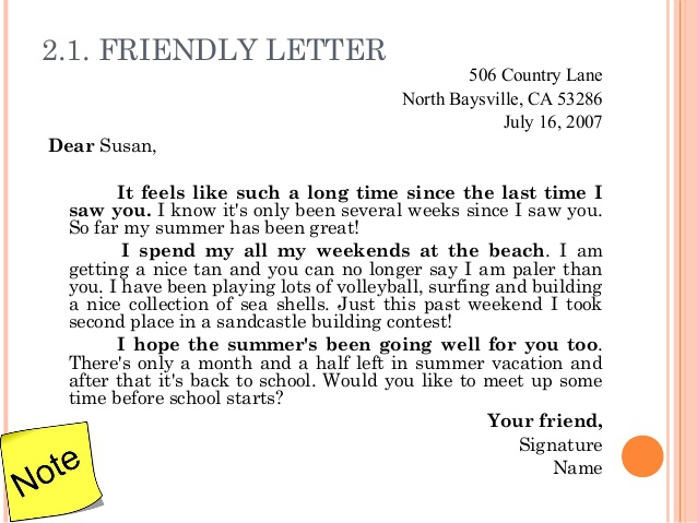 Writing A Short Friendly Letter