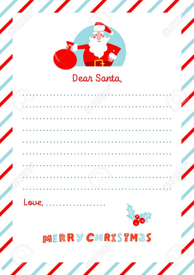 A Christmas Letter To Santa Claus Template Decorated Paper