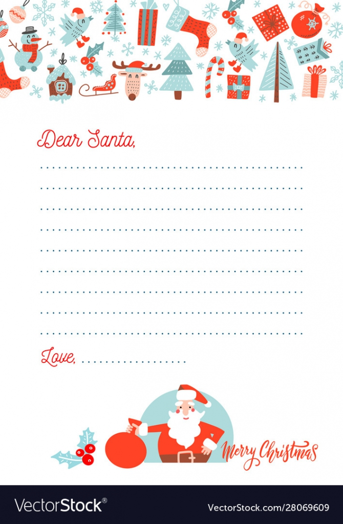 A Christmas Letter To Santa Claus Template Vector Image