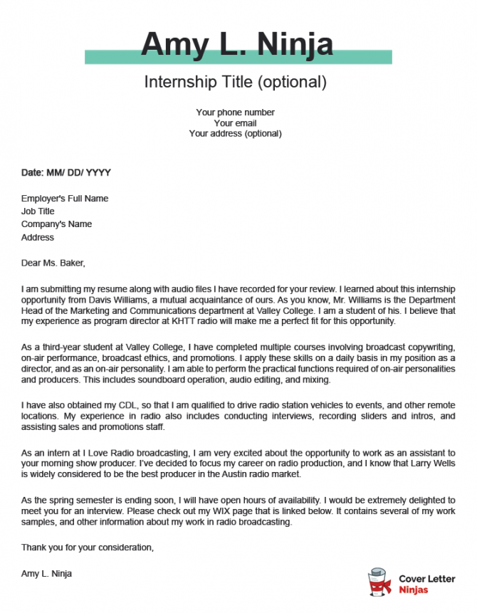 A Killer Cover Letter Example For An Internship Application